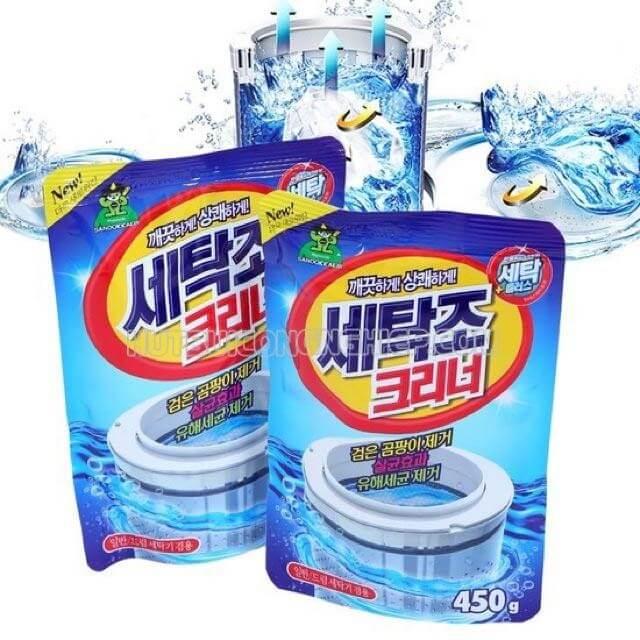 vệ sinh lồng máy giặt bằng bột tẩy rửa chuyên dụng