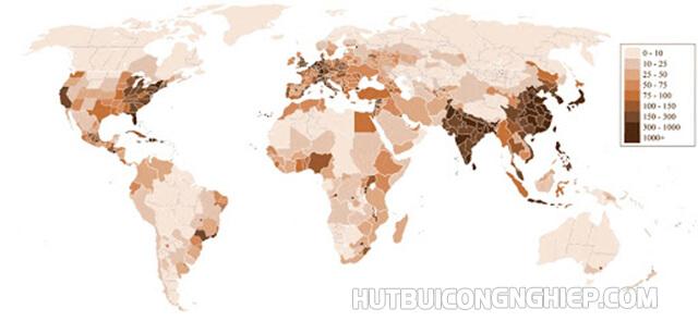 Mật độ dân số ở các vùng là hoàn toàn khác nhau
